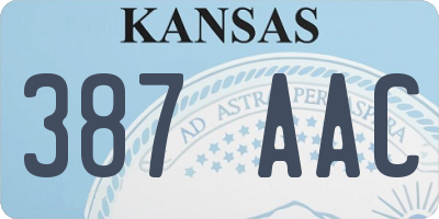 KS license plate 387AAC