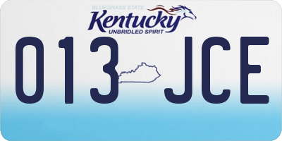 KY license plate 013JCE