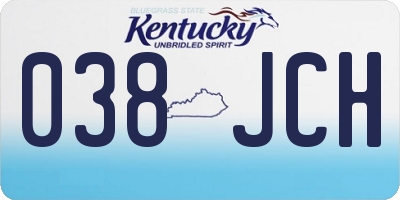KY license plate 038JCH