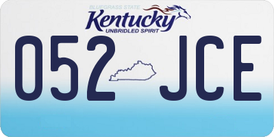 KY license plate 052JCE