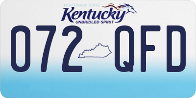 KY license plate 072QFD