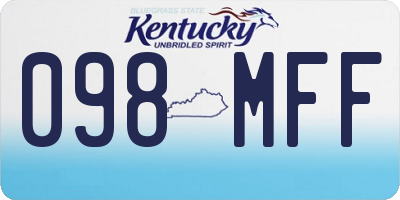 KY license plate 098MFF
