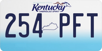 KY license plate 254PFT