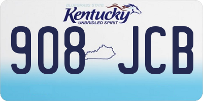 KY license plate 908JCB