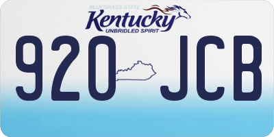 KY license plate 920JCB