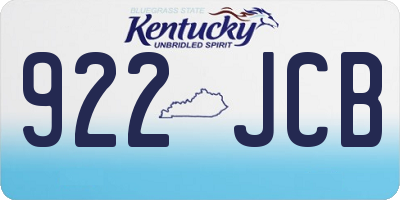 KY license plate 922JCB