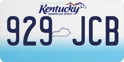 KY license plate 929JCB