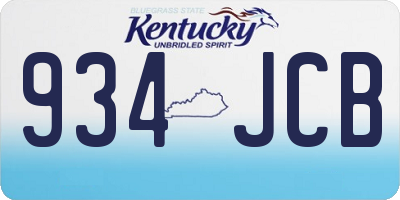 KY license plate 934JCB