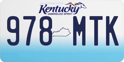 KY license plate 978MTK