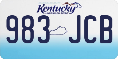 KY license plate 983JCB