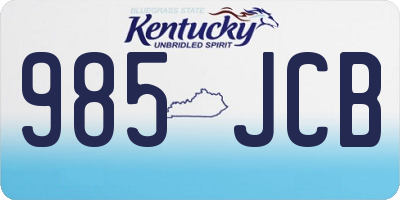 KY license plate 985JCB
