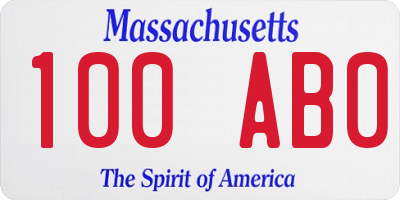 MA license plate 100AB0