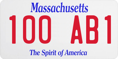 MA license plate 100AB1