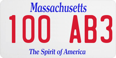 MA license plate 100AB3
