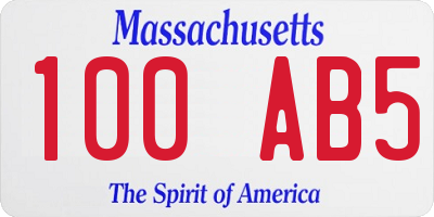 MA license plate 100AB5