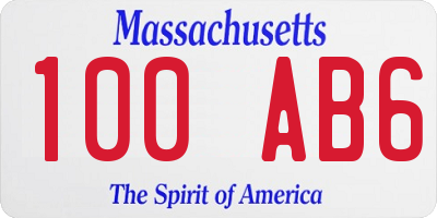 MA license plate 100AB6