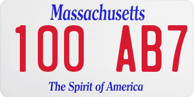 MA license plate 100AB7