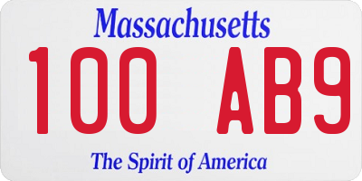 MA license plate 100AB9