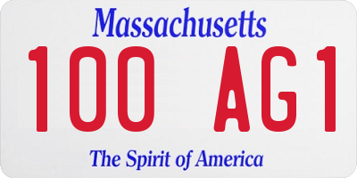MA license plate 100AG1