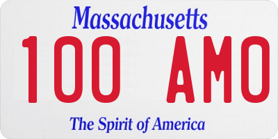 MA license plate 100AM0