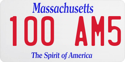 MA license plate 100AM5