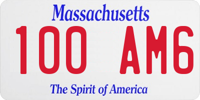 MA license plate 100AM6