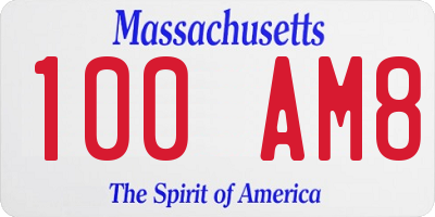 MA license plate 100AM8