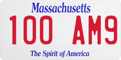 MA license plate 100AM9