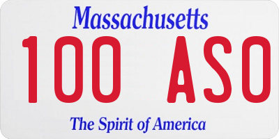 MA license plate 100AS0