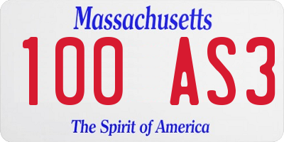 MA license plate 100AS3