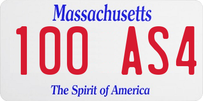MA license plate 100AS4