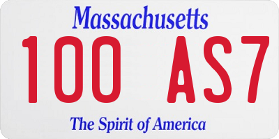 MA license plate 100AS7