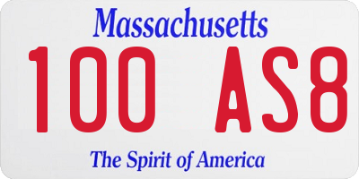 MA license plate 100AS8