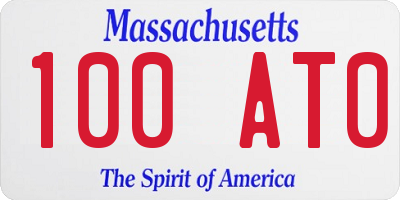 MA license plate 100AT0