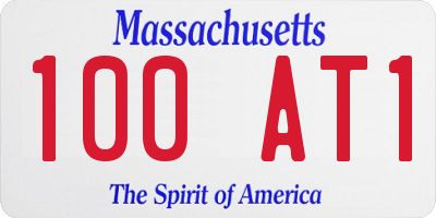 MA license plate 100AT1
