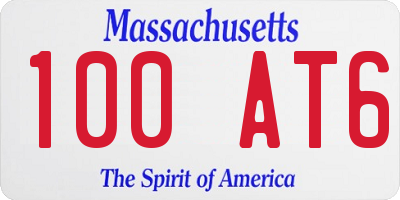 MA license plate 100AT6