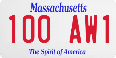 MA license plate 100AW1