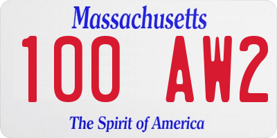 MA license plate 100AW2