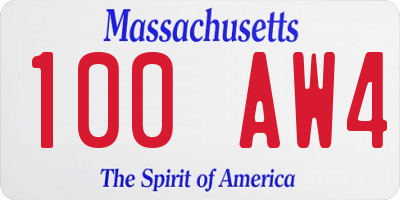 MA license plate 100AW4