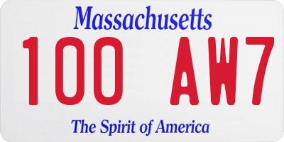 MA license plate 100AW7