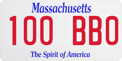 MA license plate 100BB0