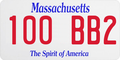 MA license plate 100BB2
