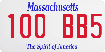 MA license plate 100BB5
