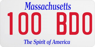 MA license plate 100BD0