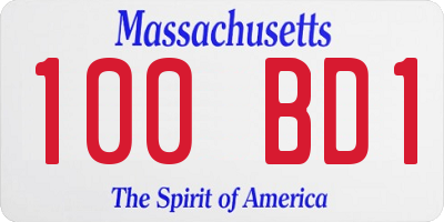 MA license plate 100BD1