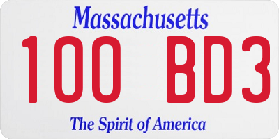 MA license plate 100BD3