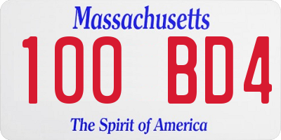 MA license plate 100BD4