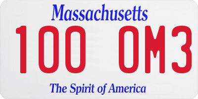 MA license plate 100OM3