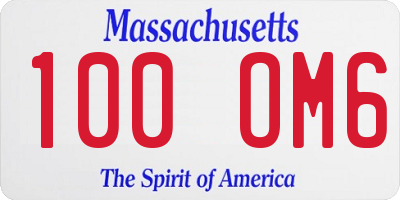 MA license plate 100OM6