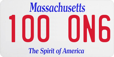 MA license plate 100ON6